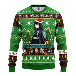Muichiro Tokito Christmas Demon Slayer Anime Ugly Christmas Sweater Green