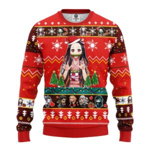 Nezuko Kamado Demon Slayer Anime Ugly Christmas Sweater Red