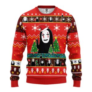 No Face Sprited Away Anime Ugly Christmas Sweater Red