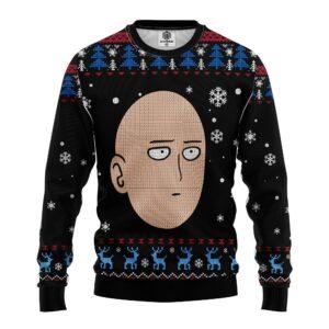 One Punch Man Head Back Custom Ugly Christmas Sweater Mc