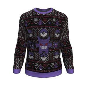 Pokemon Ghosts Gengar Ghastly Haunter Ugly Christmas Sweater