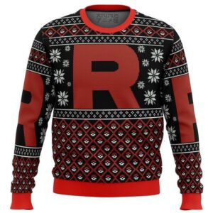Pokemon Team Rocket Red Black Ugly Christmas Sweater