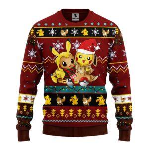 Pokemon Cute Noel Mc Ugly Christmas Sweater Brown Red