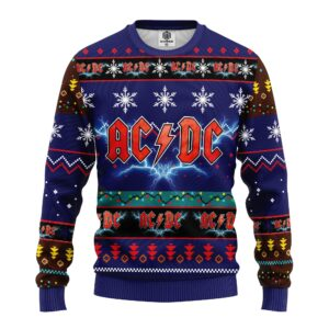 Acdc Ugly Christmas Sweater Blue