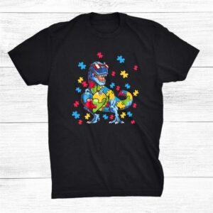 Autism Awareness Dinosaur T Rex Heart Puzzle Pieces Kid Cool Shirt