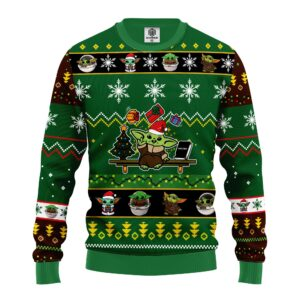 Baby Yoda Cute Ugly Christmas Sweater Green