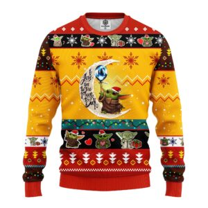 Baby Yoda Moon And Back Cute Ugly Christmas Sweater Yellow
