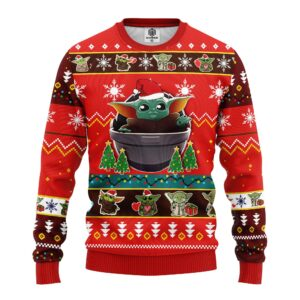 Baby Yoda Ugly Christmas Sweater Red