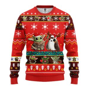 Baby Yoda Ugly Christmas Sweater Red Amazing Gift Idea Thanksgiving Gift