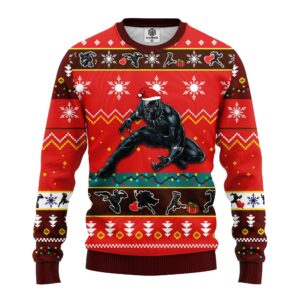 Black Panther Ugly Christmas Sweater Red Brown