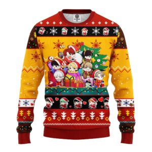Bts Army Chibi Cute Ugly Christmas Sweater Red Yellow