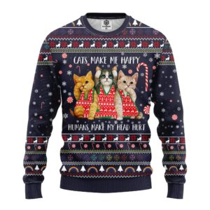 Cat Make Me Happy Ugly Christmas Sweater