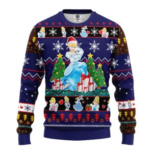 Cinderella Ugly Christmas Sweater Blue