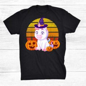 Cute Halloween Witchy Unicorn With Pumpkin Baby Unicorn Shirt