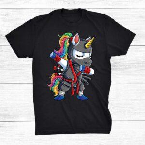 Dabbing Ninja Unicorn Funny Girls Rainbow Martial Shirt