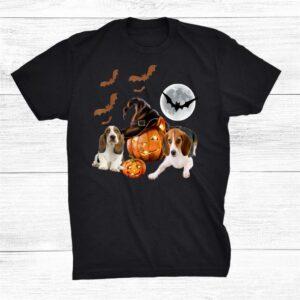 Dog Halloween Basset Hound Jack O Lantern Pumpkin Shirt