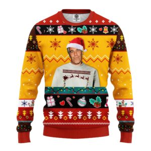 Epstein Ugly Christmas Sweater Red Yellow