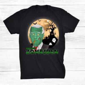Funny President Zombiden Costume Halloween Scary Gosh Moon Shirt