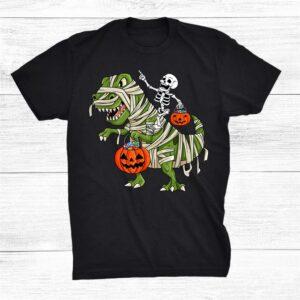 Funny Skeleton Riding Mummy T Rex Halloween Shirt