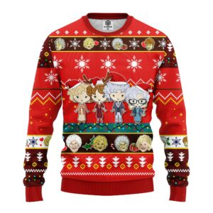 Golden Girls Ugly Christmas Sweater Red