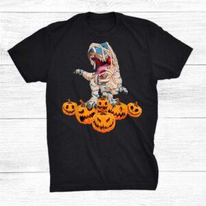 Halloween Kids Dinosaur Rex Mummy Pumpkin Shirt