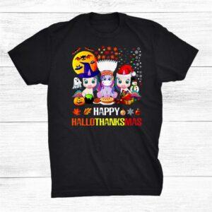 Happy Hallothanksmas Halloween Thanksgiving Merry Christmas Shirt