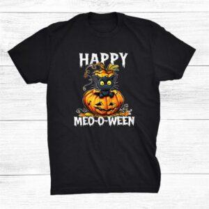 Happy Meooween Black Cat Halloween Costume Pumpkin Shirt