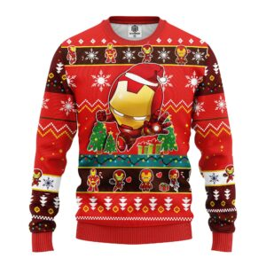 Iron Man Chibi Ugly Christmas Sweater Red