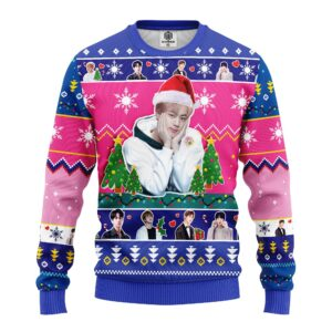Jin BTS Ugly Christmas Sweater Pink