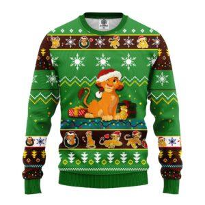 Lion King Simba Ugly Christmas Sweater Green