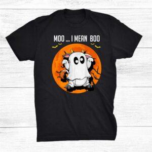 Moo I Mean Boo Ghost Cow Shirt Halloween Farmer Shirt