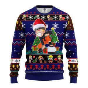 Naruto Kid Ugly Christmas Sweater Brown Blue