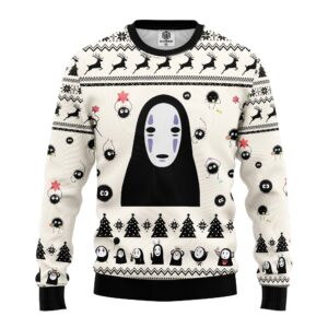 No Face White Ugly Christmas Sweater