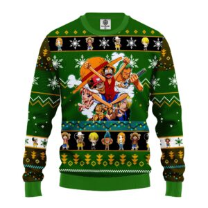 One Peace Green Anime Ugly Christmas Sweater
