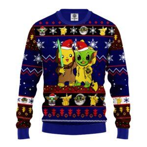 Pikachu And Yoda Ugly Christmas Sweater Blue