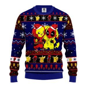Pikachu Deadpool Christmas Sweater Blue