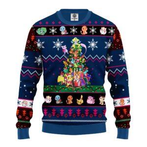 Pokemon Ugly Christmas Sweater Tree Blue