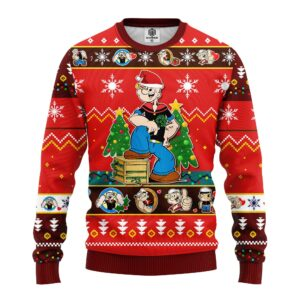 Popeyes Ugly Christmas Sweater Red