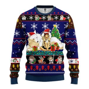 Princess Mononoke Ugly Christmas Sweater Blue