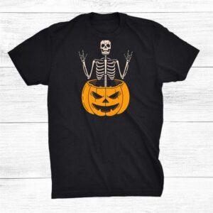 Punk Rock Skull Hands Funny Spooky Rockstar Pumpkin Skeleton Shirt