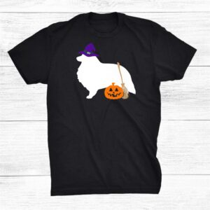 Sheltie Shetland Sheepdog Halloween Dog Wearing Witch Hat Shirt