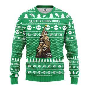 Sloth Tree Ugly Christmas Sweater