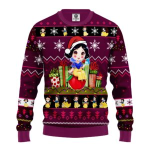 Snow White Ugly Christmas Sweater Purple Pink