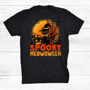 Spooky Meowoween Scary Black Cat Witch Hat Halloween Shirt