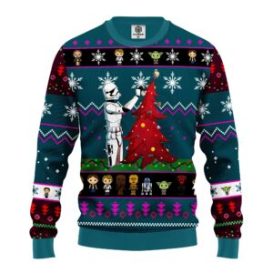 Star Wars And Tree Ugly Christmas Sweater Blue