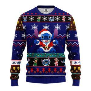 Stitch Cute Ugly Christmas Sweater Blue