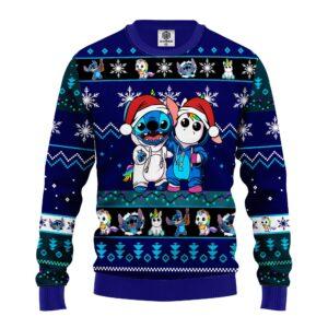 Stitch Unicorn Ugly Christmas Sweater Blue