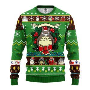 Totoro Ghibli Noel Ugly Christmas Sweater Green