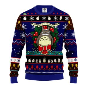 Totoro Ugly Christmas Sweater Blue