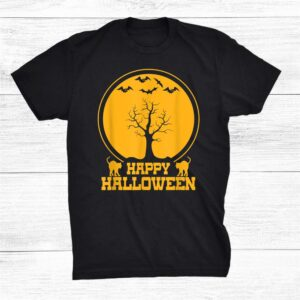 Tree Black Cats Kitten Kitty Bats Cute Happy Halloween Shirt